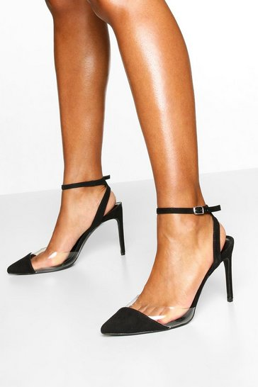 Black Clear Panel Pointed Heel Courts