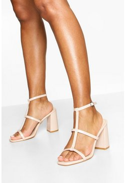 Nude Caged Square Toe Block Heels