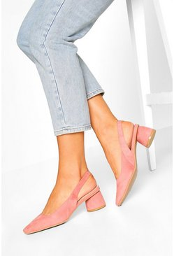 Blush Square Toe Block Heel Ballets
