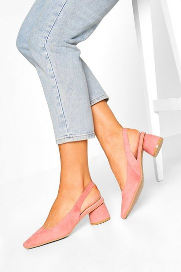 Blush pink Square Toe Block Heel Ballets