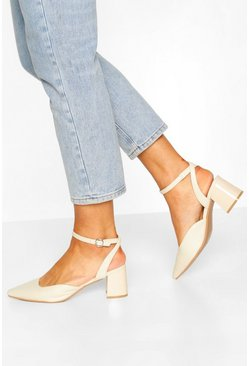 Cream white Ankle Strap Block Heel Ballets