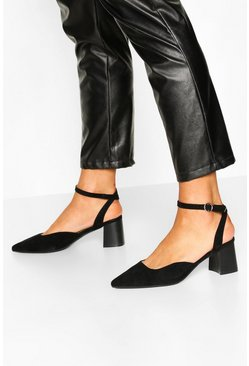 Black Ankle Strap Block Heel Ballets