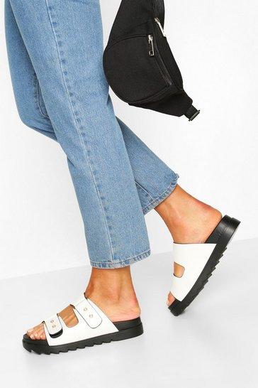 White Footbed Pearl Detail Sliders