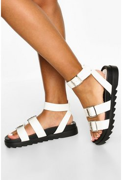 White Multi Strap Foot Bed Sandals