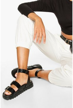 Black Multi Strap Foot Bed Sandals