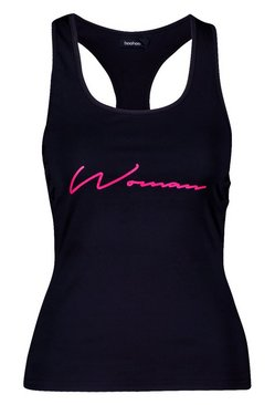 Black Fit Woman Lattice Detail Gym Vest