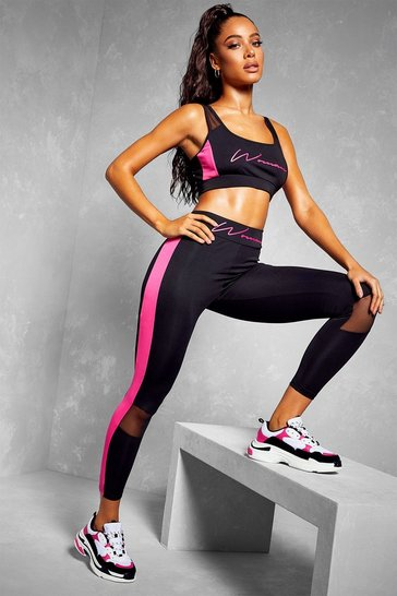 Black Fit Woman Contour Panel Gym Leggings