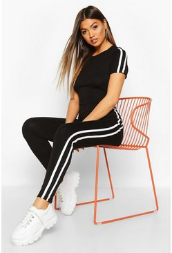 Black Sports Stripe Casual Jumpsuit