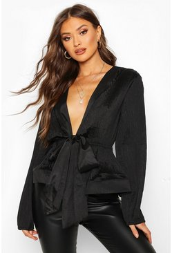 Black Woven Crinkle Tie Front Blouse