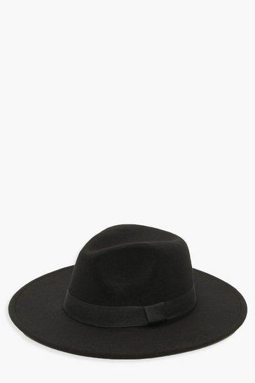 Black Tape Detail Fedora Hat