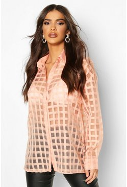 Blush pink Check Organza Button Through Shirt