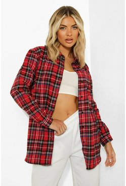 Red Woven Check Shirt