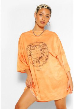 Orange Graphic Acid Wash T-Shirt Dress
