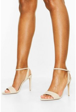 Nude Strappy Stiletto Barely There Heels
