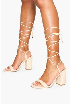 Nude Tie Up Block Heel Sandals