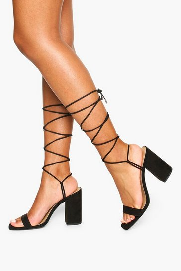 Black Tie Up Block Heel Sandals