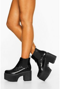 Black Chunky Platform Chelsea Boots
