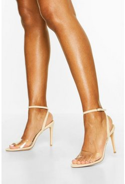 Nude Clear Strap Barely There Heels