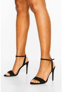 Black Strappy Barely There Stiletto Heels