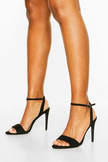 Black Strappy 2 Part Stiletto Heels