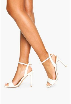 White Strappy Barely There Stiletto Heels