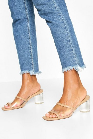 Nude Clear Panel Square Toe Mules