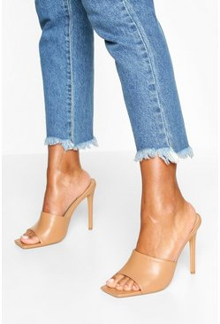 Nude Extreme Square Toe Mules