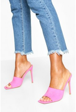 Pink Extreme Square Toe Mules