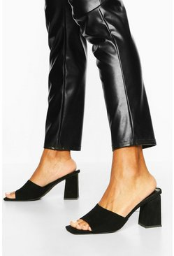 Black Extreme Square Toe Block Heel Mules