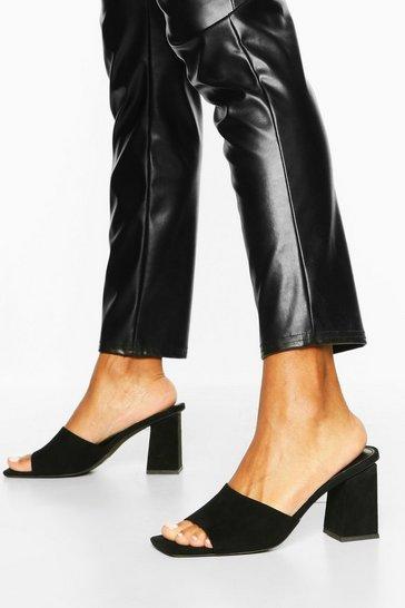 Black Extreme Square Toe Block Heel Mules