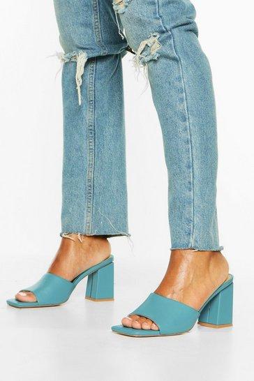 Blue Extreme Square Toe Block Heel Mules