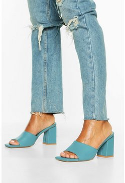 Blue Extreme Square Toe Block Heel Mules