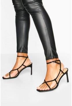 Black Strappy Square Toe Heel Sandals