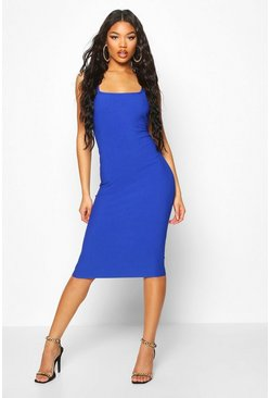 Cobalt blue Bandage Rib Square Neck Midi Dress