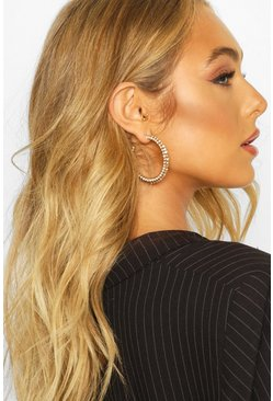 Gold metallic All Over Diamante Hoop Earrings