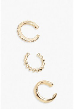 Gold 3 Pack Textured & Diamante Ear Cuffs