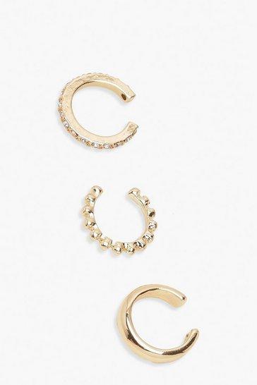Gold metallic 3 Pack Textured & Diamante Ear Cuffs