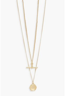 Gold metallic T-Bar Double Layer Necklace