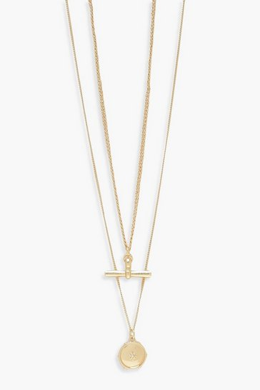 Gold T-Bar Double Layer Necklace