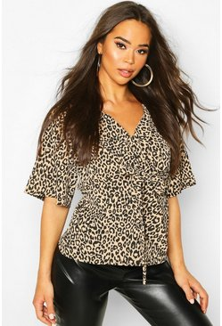 Knot Front Woven Leopard Blouse, Brown marrón