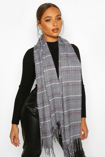 Grey Prince Of Wales Check Fringe Scarf