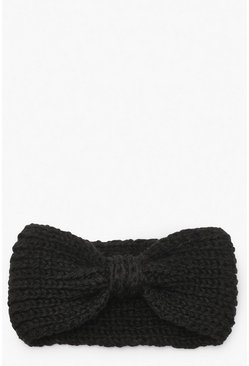 Black Knitted Bow Head Band