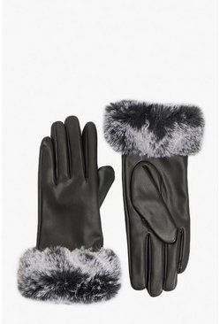 Black PU Faux Fur Trim Glove