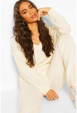 Ivory white Knitted V Neck Jumper Set
