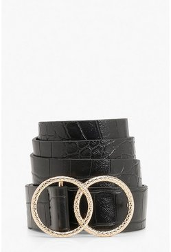 Black Double Ring Croc Print Buckle Belt