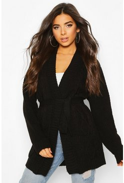 Black Cable Boyfriend Belted Cardigan