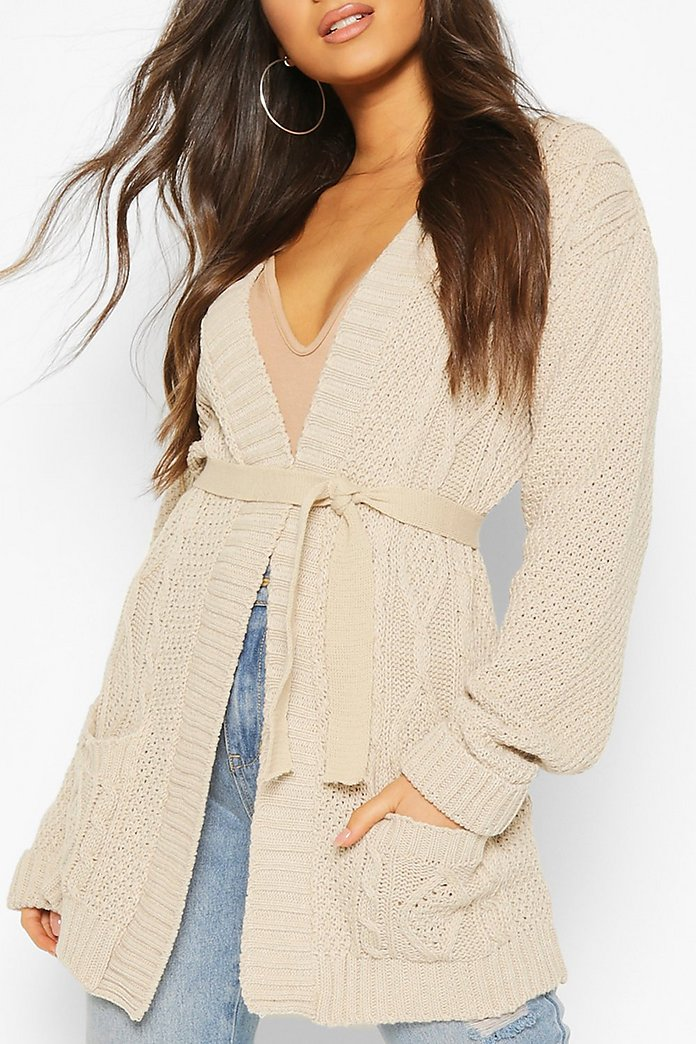 Cable Boyfriend Belted Cardigan | boohoo