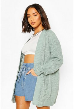 Sage green Cable Boyfriend Belted Cardigan