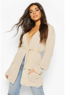Stone beige Cable Boyfriend Belted Cardigan