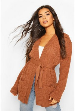 Toffee beige Cable Boyfriend Belted Cardigan